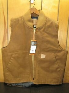 NWT Skechers Work Vest Quilted Lining Zip Front - Brown - Large