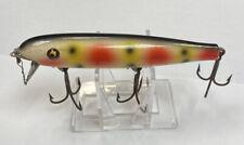 """Vintage Pflueger Palomine 4 1/2"""" Glass Eye Strawberry Wood Used Fishing Lure"""