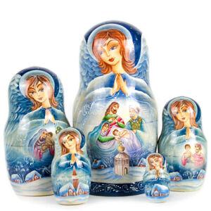 Russian Nesting Dolls Matreshka Angel NATIVITY Beautiful Christmas Set 5 pieces!