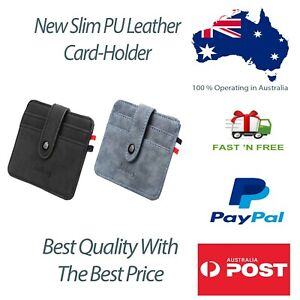 Men PU Leather Credit Card Holder Money  Wallet With 7 Card Slots in SPACE GRAY