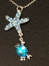 """Beach Starfish Crabs Bejeweled Blue Charm Tibetan Silver 18"""" Necklace D528"""
