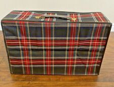 Vintage Plaid Luggage Folding Suitcase Retro/carry on 60's 70's red black yellow