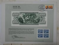 BEP Souvenir Card B 100 Dallas 1986 back 1918 $10,000 FRN Visitors Center Cancel