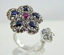 Diamond &Sapphire 2 Flower Cluster Ring 18k White Gold 1.06 TCW
