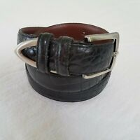 Argentinian Leather Black Belt With Metallic Tip Mens 36 Brown Leather underside
