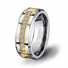 Diamond wedding band Ring Men's Tungsten Carbide 0.30 Ct 14K Yellow Gold Plated