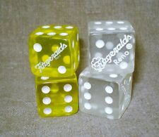 "2 Pair of Closed FITZGERALD'S Reno Casino Dice - 3/4"" Clear Lucite & Yellow"