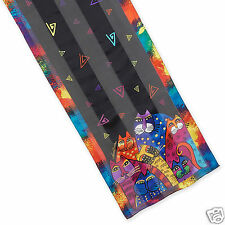 Laurel Burch 100% Silk Oblong Scarf Whiskered Cats Family Brights New