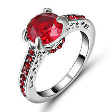Princess Cut Red Ruby Eternity  White Rhodium Plated Wedding Ring Size 6