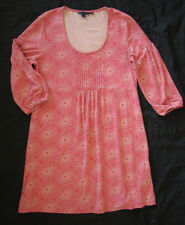 BODEN Salmon Pink Jersey Pintuck Tunic Mini Dress Stretch WL520 Size 16