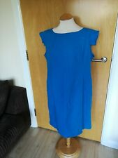 Ladies SOUTH Dress Size 18 Blue Linen Shift Smart Casual Day Party Summer
