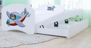HBD Doppelbett mit 2 Liegeflächen 2 Matratzen FLUGZEUG verschiedene Variante
