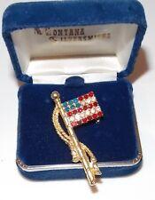 New listing Vintage Gold Patriotic Red White Blue Rhinestones Brooch American Flag Usa.