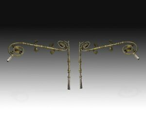 Set of Two wrought Iron Supports, 16th-17th Century