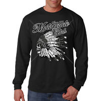 Motorcycle Club Native American Indian Chief Skull Biker Long Sleeve T-Shirt