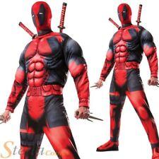 Mens Deluxe Deadpool Costume Marvel Comic Superhero Halloween Fancy Dress Outfit