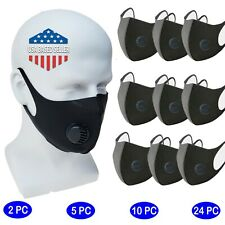 Reusable Face Mask w/ Respirator Washable Stretch Black Fabric Protection 1.8 mm