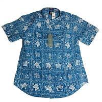 Reyn Spooner Mens Hawaiian Shirt Size XXL Lahaina SLR Denim Tailored Fit New