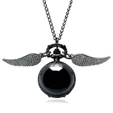 New Necklace Steampunk Quidditch Wings Harry Potter Snitch Pocket Watch Black