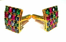 Stone Ruby Emerald Sapphire Cufflinks Jewelry 14K Solid Yellow Gold Natural Gem