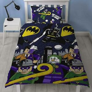 Lego DC Superheroes Single Duvet Cover Set 2-in-1 Designs Batman Fans Bedding