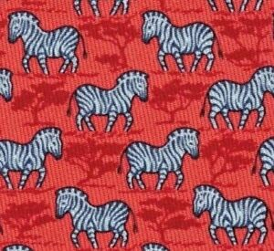 """Awesome New Hermes Silk Tie Red/Blue """"Happy African Zebra"""" Ex Rare Mint!"""