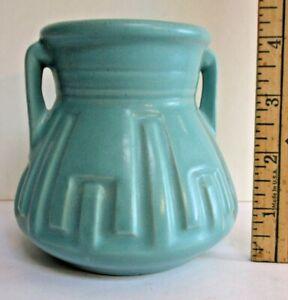 Roseville Matt Color 607-4 vase Blue Green Matt Glaze
