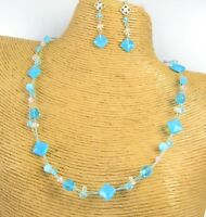 Crystal Glass Beads Fashion Necklace Earring Set Women Jewelry