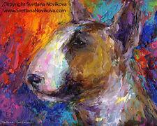 ART PRINT Colorful Bull Terrier dog painting Svetlana Novikova