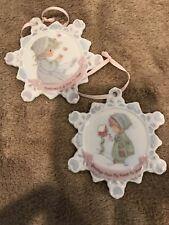 Precious Moments Ornaments 2 Snowflake Shaped Porcelain Ornaments