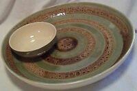 "LouCarte Chip Dip Attached Bowl Large 12 3/4"" Light Green Tan Circle Design"