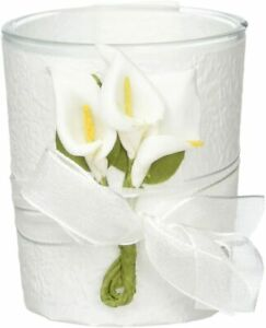 2 Stunning Calla Lily Design Candle Favors, White