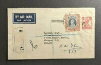 1946 Bombay India Registered Airmail Cover to Glasgow Scotland