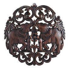 Elaborate Circular Double Thai Elephant Hand Carved Wood Wall Art