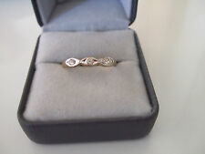 LOVELY DELICATE CRYSTALS 18K WHITE & YELLOW GOLD PLATE RING BAND  SIZE 10  ESPO
