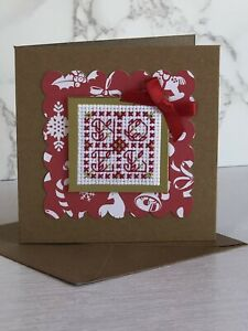 Completed Cross Stitch Noel Christmas Card 4x4 Inch.