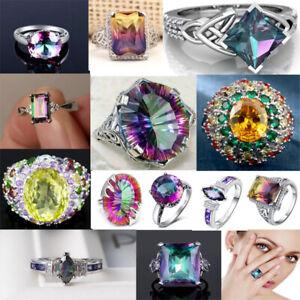 Exquisite 925 Silver Mystic Topaz Rainbow Gemstone Rings Women Wedding Jewelry