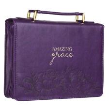 Amazing Grace Purple Faux Leather Fashion Bible Cover-LARGE