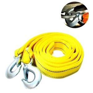 4m Heavy Duty Car Tow 5 Ton Cable Towing Pull Rope Strap Hooks Van Road Recovery
