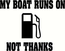 My Boat Runs On Gas Sticker - Black