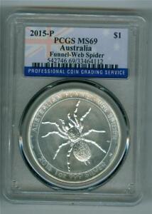 AUSTRALIA 2015-P $1 FUNNEL-WEB SPIDER 1 OZ. .999 SILVER PCGS MS-69 WITH SPOTS