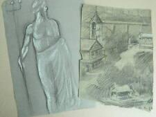 LOT esquisse Originale ancien dessin au crayon avec rehaut de craie blanche