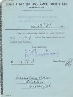 Legal & General Assurance Society Ltd Manchester 1937 Money Receipt Ref 37224