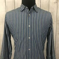 Banana Republic Men's Medium Blue Striped Slim Fit Pearl Snap Long Sleeve Shirt