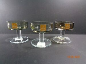 3 Royal Doulton Studio Crystal Footed Candle Holder Grey Clear RARE