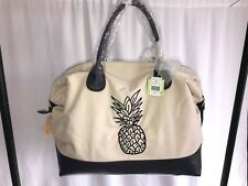 766d22cc5edf With Tags () Deux Lux Honolulu Black Pineapple Embroidered Weekender Bag