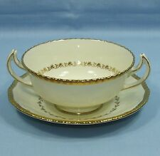 ROYAL DOULTON BELVEDERE BONE CHINA RICHLY GILDED 2 HANDLE SOUP CUP BOWL & SAUCER