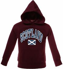 Children's Harvard Style Hooded Jumper With Scotland Text In Maroon 5-6 Years