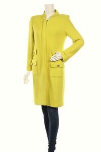 St. John Knit Long Jacket Lemon Yellow Size 8 Wool Blend Full Zip Rare Women's