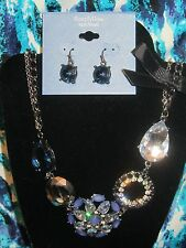 SIMPLY VERA WANG NWT $48 women's  necklace & earrings set bold blue party